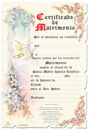 Certificado de Matrimonio, decorative certificate can be framed and displayed in your home as a beautiful wedding keepsake; written entirely in Spanish