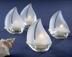 sailboat tealight holder wedding favor, use as favors or scatter them on the table for a soft romantic glow