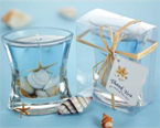 seashell gel candle wedding favor, tiny and perfect, ready to give in a clear gift box with bow